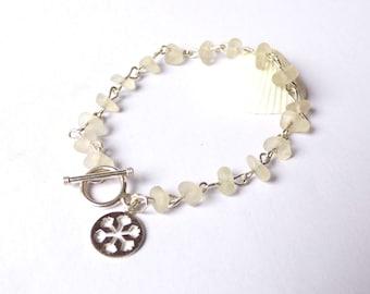 Sea Glass Bracelet, Silver Snowflake, Seaglass Jewellery, Sea Glass Jewelry, Sterling Silver, Snow Flake Charm, White Sea Glass, B170081