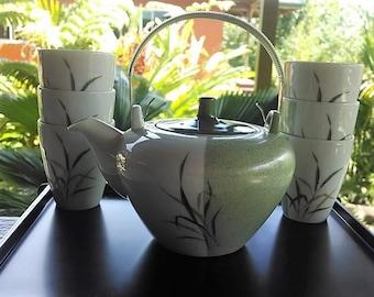 Noritake Nippon Toki Kaisha Tea Set (Teapot and Six cups), Vintage Japanese China Tea Set Bamboo Design, Green/White China Teapot and Cups