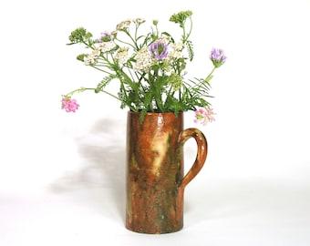 Little Ceramic Vase 1980 - Collectible Unique Pot - Boho Chic Kinfolk Home Trend - Hand Made Rustic Hearthenware - Hippie Chic Home Decor