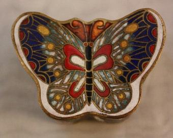 Vintage Cloisonne Butterfly Trinket Box