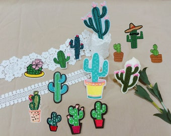 Cactus group patches, iron on patch, embroidered patch, plant patch, cartoon patch, jacket patch, denim patch, patches, DIY