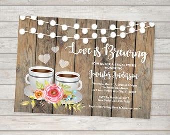 Bridal Tea Invitation, Bridal Coffee Invitations, Tea / Coffee  Bridal Shower Invitation, Love Is Brewing Bridal Shower Invitation