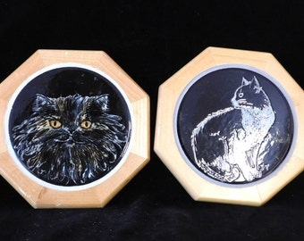 Two hand made cat tile trivets--signed by artist