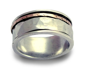 Sterling Silver Band, Wedding Band, Men Wedding Ring, Silver Rose Gold Band, Unisex Band, Spinner Ring, Hammered Silver Band - l love R1149F