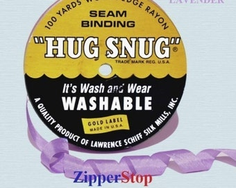 """Hug Snug Lavender 908 - Seam Binding - 100 yard roll 1/2"""" Wide - 100% Woven-Edge Rayon - Great for Seams & Hems for a Finished Edge"""