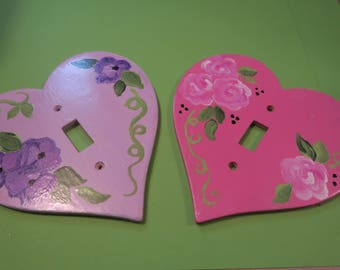 Switch Plate Cover Hand Painted Wood  - Choice of lavender or pink heart Free domestic US shipping