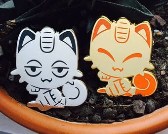 Meowth & Alolan Meowth Pokemon Lucky Cat Enamel Lapel Pins