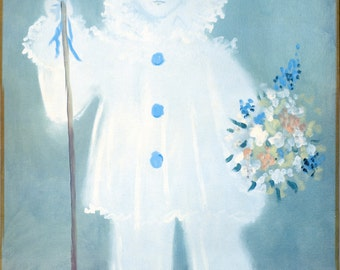 Gorgeous Vintage Reproduction art print - Boy with Ruffles and Floral Bouquet - Shabby Chic Canvas Art