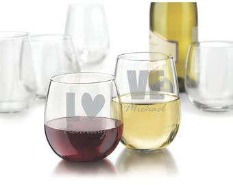 "Two Etched Red or White Stemless Wine Glasses - (""LOVE with Custom Names"")"