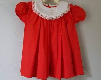Vintage Girls Red Dress with White, Lace-Trimmed Collar by C.I. Castro - Size 18 months- New, never worn- Christmas Dress