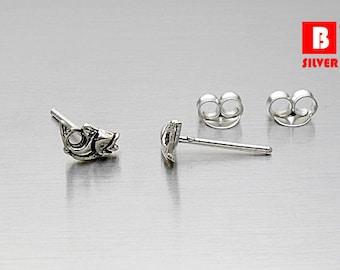 925 Sterling Silver Oxidized Earrings, Fish Earrings, Stud Earrings (Code : K12H)