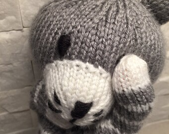 Hand knit cat puppet, knit hand puppet cat, knit cat glove puppet, knit puppet cat, plush cat puppet, cat plush toy, glove puppet cat plush