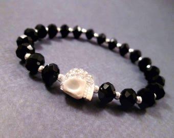 Rhinestone Pave Skull Bracelet, Jet Faceted Glass, Black Stretch Bracelet, Stackable Beaded Bracelet, FREE Shipping U.S.