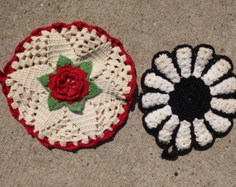 2 Vintage Hand Crocheted Pot Holders