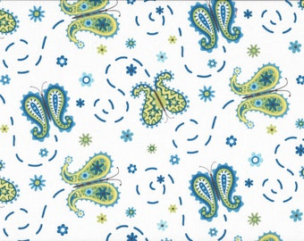 Butterflies on White, 100% Cotton Fabric, Sold by Half Yard (22518)