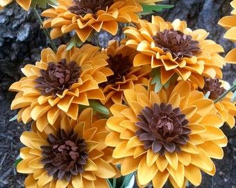 Paper Flower Bouquet, Paper Flowers, Handmade Paper Flowers, Stemmed Paper Flower, Sunflowers, Wedding Centerpiece, Set of 24 MADE TO ORDER
