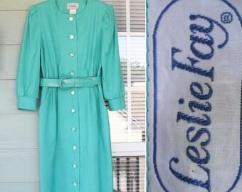 80s Turquoise Shirtwaist Dress - Size 10