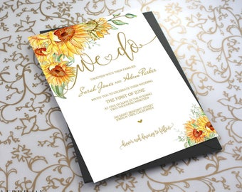 Sunflower Invitation Etsy - Sunflower wedding invitations templates