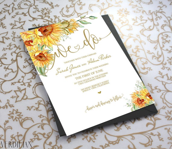 Printing Your Own Wedding Invitations: Wedding Floral Invitation Template We Do Sunflower Wedding