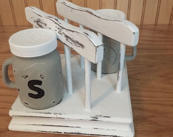 Napkin holder with salt and pepper holders, white distressed napkin holder