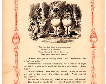 Through The Looking Glass Antique Book Page - Tweedledum and Tweedledee -  Vintage Alice in Wonderland decor, nursery art, 8 x 10 print