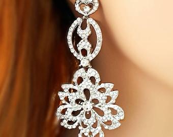 Long Dangle Crystal Earrings - Bridal Earrings Chandelier - Crystal Dangle Earrings - Rhinestone Earring - Statement Wedding Jewellery E2181