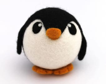 Needle Felted Penguin BIG Roly Poly Penguin Ornament