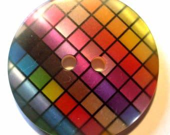 1 three quarters square multicolored 28mm - ABR113 button