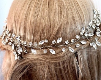 Bridal hair vine, wedding hair vine, Crystal vine, bridal hair vine crystal silver, silver wedding accessories, gold bridal hair vine
