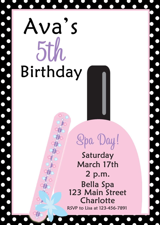 Spa Birthday Party Invitation Manicure Pedicure Party Mani