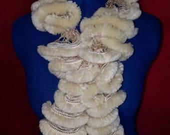 Faux Fur Fashion Scarf, Beige