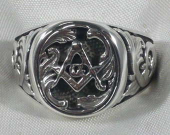 Masonic square and compass ring in solid 925 sterling silver anello massonico in argento 925 millesimi