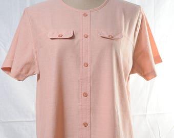 Vintage blush pink round neck top