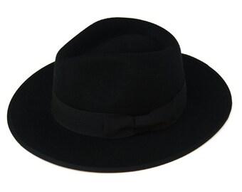 Black Classic Felt Fedora Hat , Mens Felt Fedora , Womens Felt Fedora Hat , Winter hat , Black Hat