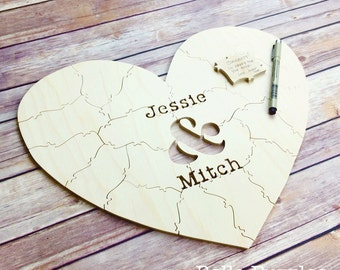 10-140 pc Wedding Guest Book Puzzle guestbook alternative wood HEART puzzle guest book Bella Puzzles rustic wedding minimalist modern