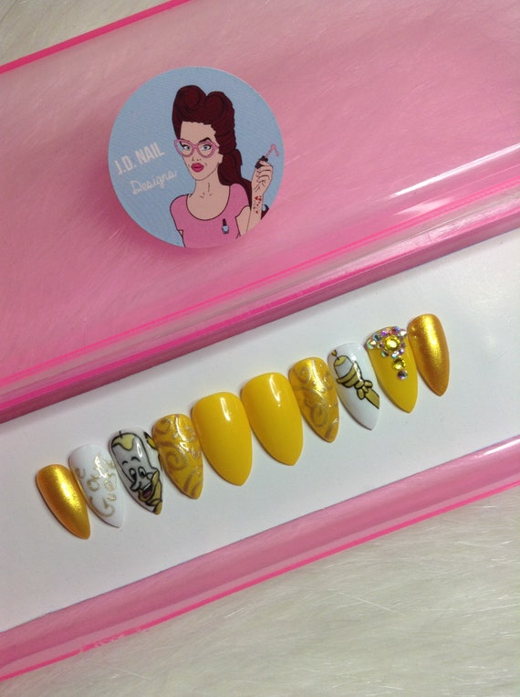 JD Nail Designs! Disney\'s Beauty & The Beast Inspired press on nails ...