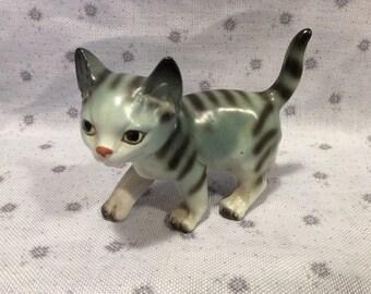 Beautiful little vintage blue and black striped cat porcelain figurine
