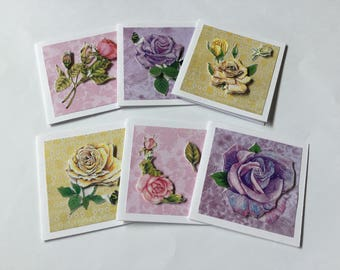 Mini rose cards, pink, blank cards, pink flower cards, floral cards, 3D, decoupage cards, handmade, all occasions, card for her, set of 6