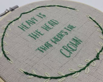 """heavy is the head that wears the crown lyrics - Zac Brown Band ft Chris Cornell - hand embroidery 6"""" hoop art wall hanging"""