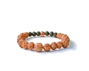 Aromatherapy Essential Oils Stretch Diffuser Bracelet, Lava Stones and Czech Glass