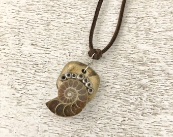 Spiritual Journey Necklace / Ammonite / Polymer Clay