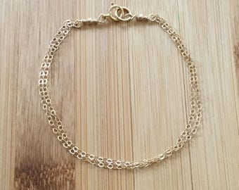 Multi Strand Gold Bracelet, Gold Filled Bracelet, Gold Chain Bracelet, Double Gold Bracelet