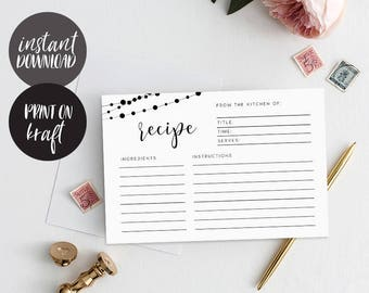 Recipe cards printable, INSTANT DOWNLOAD, Printable Recipe Card, Bridal Shower Recipe Card, DIY Recipe Cards, Rustic Recipe Cards - Garland