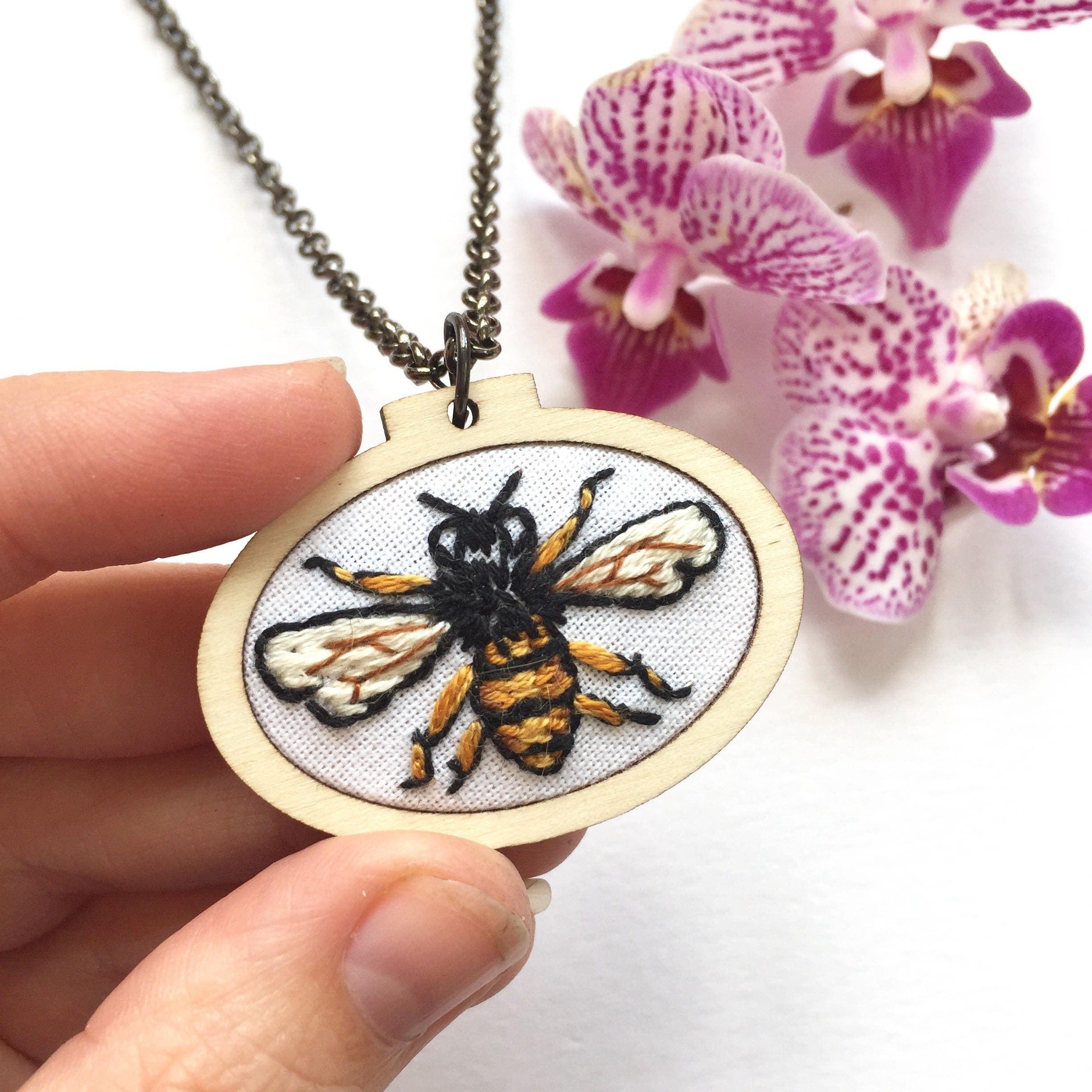 slash product out cut necklace bee colors honeybee pendant on original luulla in honey