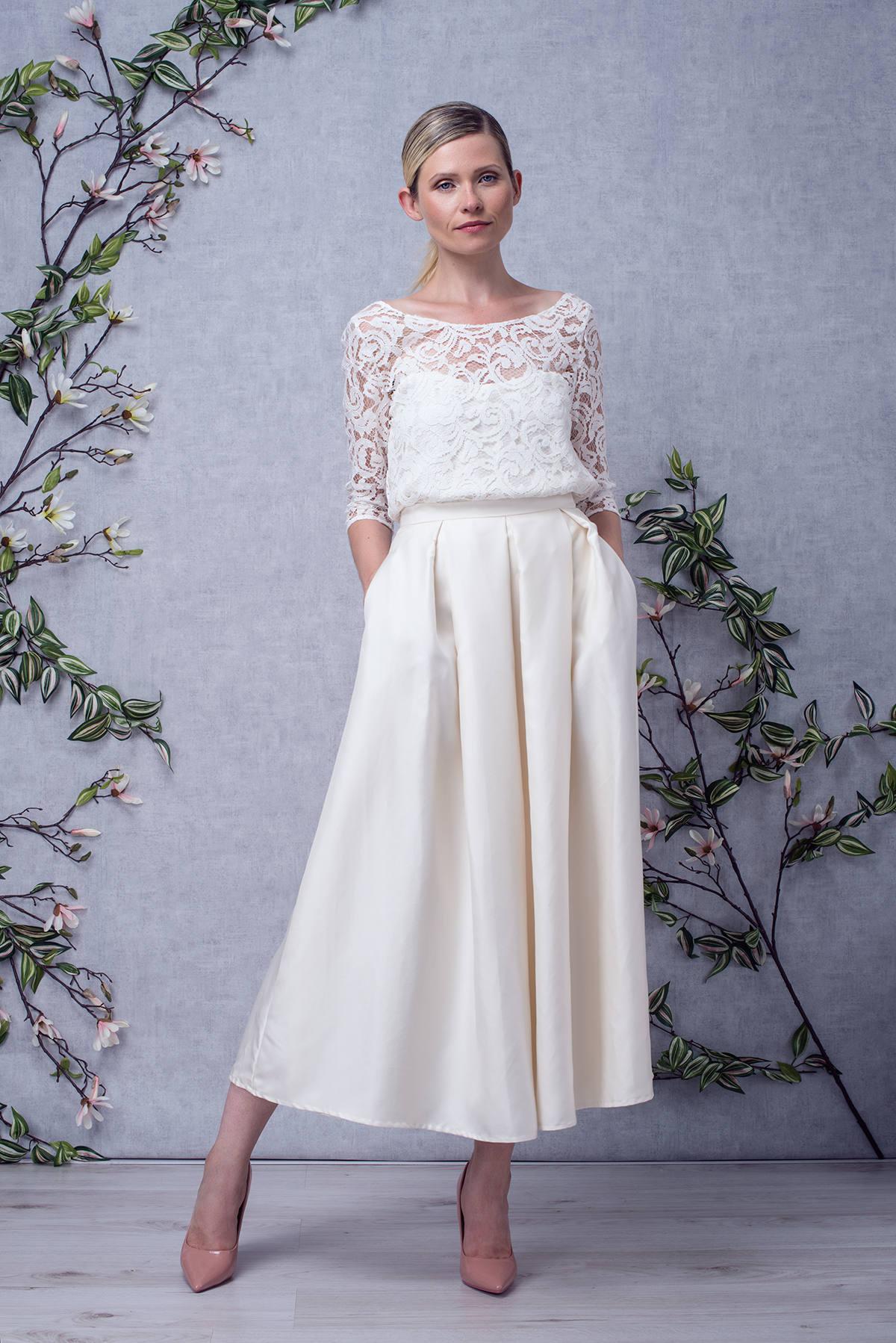 BIANCA / / Hochzeit Kleid kurzes Top in Spitze 3/4 Ärmel hohe