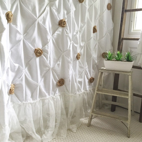 Burlap Ruffle Shower Curtain White Cotton With Handmade