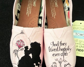 Disney Beauty and the Beast Wedding Silhouette Custom Hand Painted Shoes