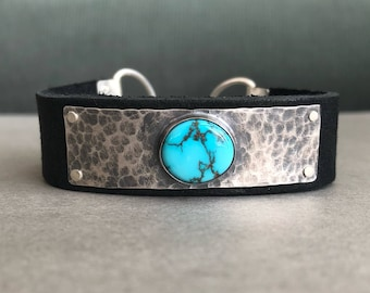 Sierra Nevada Turquoise, Sterling Silver, & Leather Cuff Bracelet