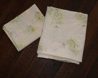 Vintage Springmaid Floral Flat Double Sheet with Matching Pillowcase