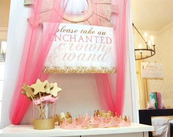 Printable pink and gold glitter party sign -  Enchanted forest - Princess party - Girls birthday - Customizable